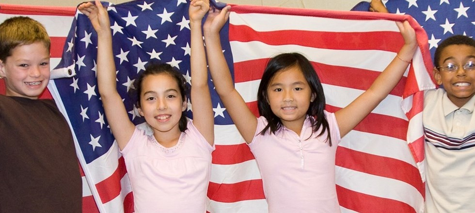 Children with american flag